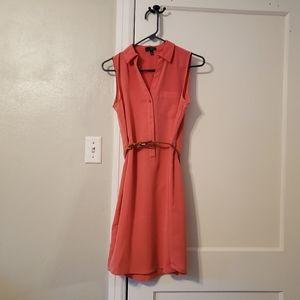 Light Coral Sleevless Dress w/ tan belt